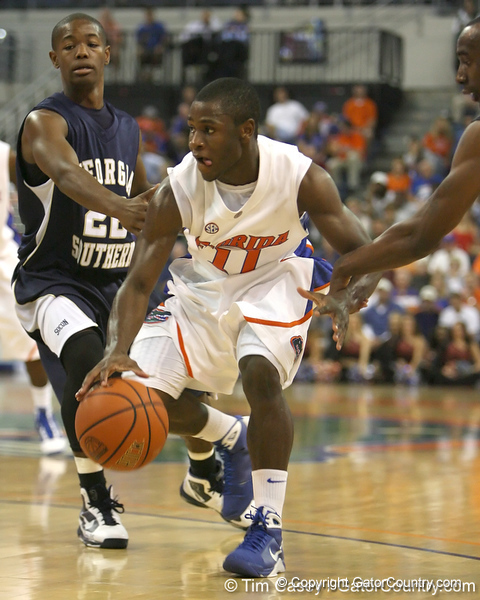 Florida sophomore guard Erving Walker dribbles to the basket during the Gators' 69-49 win against Georgia Southern on Wednesday, November 18, 2009 at the Stephen C. O'Connell Center in Gainesville, Fla. / photo by Tim Casey