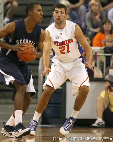 Florida senior forward Dan Werner defends the ball during the Gators' 69-49 win against Georgia Southern on Wednesday, November 18, 2009 at the Stephen C. O'Connell Center in Gainesville, Fla. / photo by Tim Casey