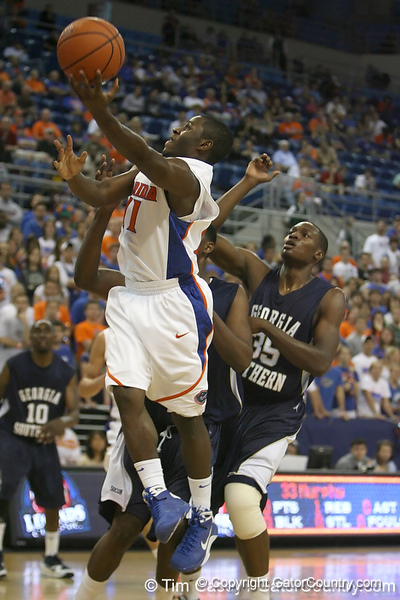 Florida sophomore guard Erving Walker shoots a layup during the Gators' 69-49 win against Georgia Southern on Wednesday, November 18, 2009 at the Stephen C. O'Connell Center in Gainesville, Fla. / photo by Tim Casey