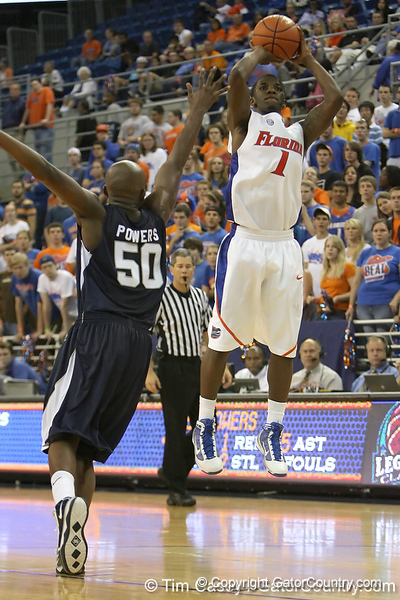 Florida freshman guard Kenny Boynton shoots for three during the Gators' 69-49 win against Georgia Southern on Wednesday, November 18, 2009 at the Stephen C. O'Connell Center in Gainesville, Fla. / photo by Tim Casey