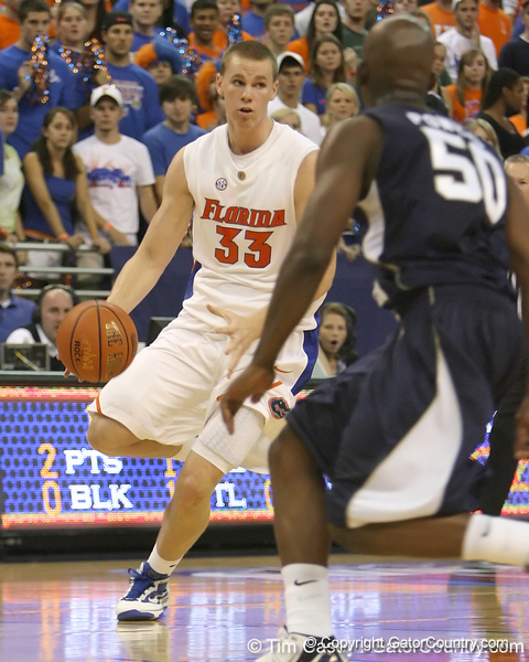 Florida freshman forward Erik Murphy dribbles upcourt during the Gators' 69-49 win against Georgia Southern on Wednesday, November 18, 2009 at the Stephen C. O'Connell Center in Gainesville, Fla. / photo by Tim Casey