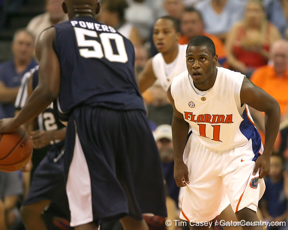 Florida sophomore guard Erving Walker plays defense during the Gators' 69-49 win against Georgia Southern on Wednesday, November 18, 2009 at the Stephen C. O'Connell Center in Gainesville, Fla. / photo by Tim Casey