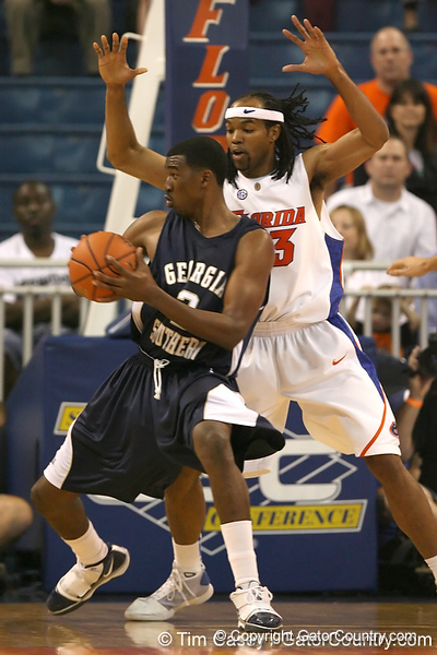 Florida junior forward Alex Tyus defends the post during the Gators' 69-49 win against Georgia Southern on Wednesday, November 18, 2009 at the Stephen C. O'Connell Center in Gainesville, Fla. / photo by Tim Casey