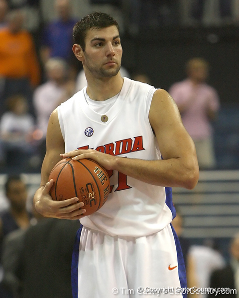 Florida senior forward Dan Werner controls the ball during the Gators' 69-49 win against Georgia Southern on Wednesday, November 18, 2009 at the Stephen C. O'Connell Center in Gainesville, Fla. / photo by Tim Casey