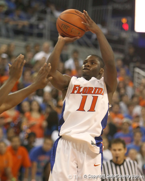 Florida sophomore guard Erving Walker shoots for three during the Gators' 69-49 win against Georgia Southern on Wednesday, November 18, 2009 at the Stephen C. O'Connell Center in Gainesville, Fla. / photo by Tim Casey