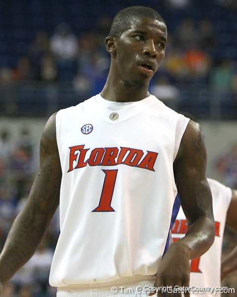 Florida freshman guard Kenny Boynton gets in position during the Gators' 95-46 exhibition game win against the St. Leo Lions on Monday, November 2, 2009 at the Stephen C. O'Connell Center in Gainesville, Fla. / Gator Country photo by Tim Casey