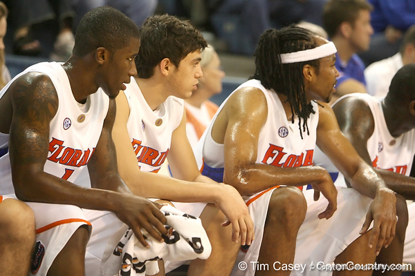 Florida freshman guard Rod Tishman watches from the bench during the Gators' 95-46 exhibition game win against the St. Leo Lions on Monday, November 2, 2009 at the Stephen C. O'Connell Center in Gainesville, Fla. / Gator Country photo by Tim Casey