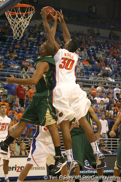 Florida sophomore forward/center Kenny Kadji grabs an offensive rebound during the Gators' 95-46 exhibition game win against the St. Leo Lions on Monday, November 2, 2009 at the Stephen C. O'Connell Center in Gainesville, Fla. / Gator Country photo by Tim Casey