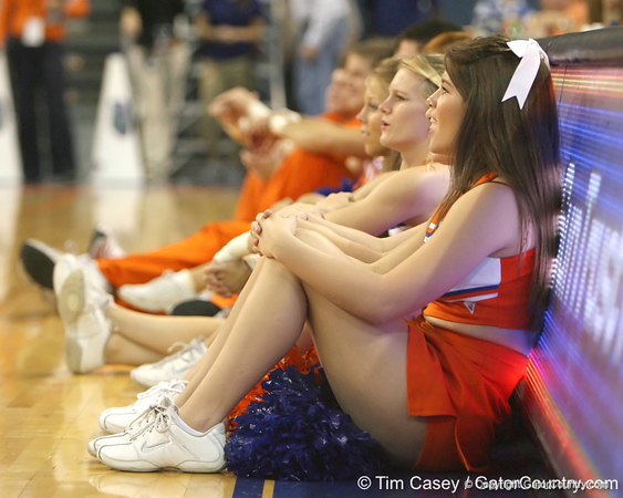 Florida cheerleaders watch as the Dazzlers perform during halftime of the Gators' 95-46 exhibition game win against the St. Leo Lions on Monday, November 2, 2009 at the Stephen C. O'Connell Center in Gainesville, Fla. / Gator Country photo by Tim Casey