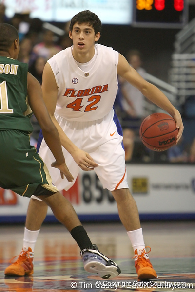 Florida freshman guard Rod Tishman looks to pass during the Gators' 95-46 exhibition game win against the St. Leo Lions on Monday, November 2, 2009 at the Stephen C. O'Connell Center in Gainesville, Fla. / Gator Country photo by Tim Casey
