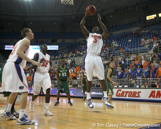 Florida sophomore guard/forward Ray Shipman shoots a layup during the Gators' 95-46 exhibition game win against the St. Leo Lions on Monday, November 2, 2009 at the Stephen C. O'Connell Center in Gainesville, Fla. / Gator Country photo by Tim Casey