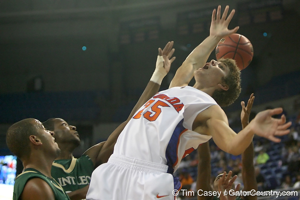 Florida junior forward Chandler Parsons reaches for a rebound during the Gators' 95-46 exhibition game win against the St. Leo Lions on Monday, November 2, 2009 at the Stephen C. O'Connell Center in Gainesville, Fla. / Gator Country photo by Tim Casey