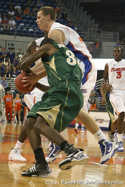 Florida freshman forward Erik Murphy turns the ball over during the Gators' 95-46 exhibition game win against the St. Leo Lions on Monday, November 2, 2009 at the Stephen C. O'Connell Center in Gainesville, Fla. / Gator Country photo by Tim Casey