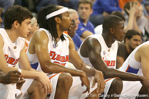 Florida junior forward Alex Tyus watches from the bench during the Gators' 95-46 exhibition game win against the St. Leo Lions on Monday, November 2, 2009 at the Stephen C. O'Connell Center in Gainesville, Fla. / Gator Country photo by Tim Casey