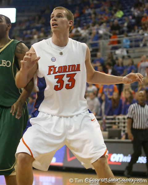 Florida freshman forward Erik Murphy gets in position during the Gators' 95-46 exhibition game win against the St. Leo Lions on Monday, November 2, 2009 at the Stephen C. O'Connell Center in Gainesville, Fla. / Gator Country photo by Tim Casey