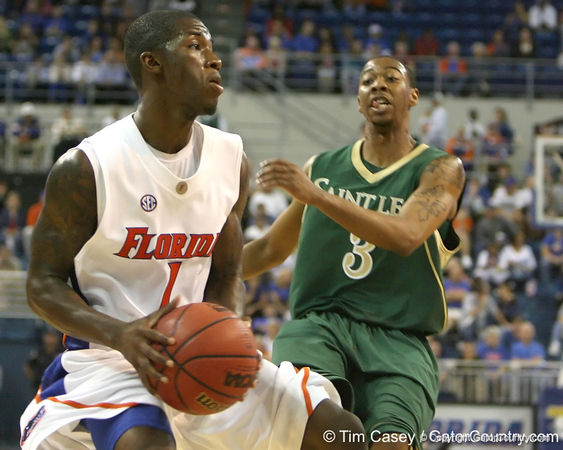 Florida freshman guard Kenny Boynton drives towards the basket during the Gators' 95-46 exhibition game win against St. Leo on Monday, November 2, 2009 at the Stephen C. O'Connell Center in Gainesville, Fla. / Gator Country photo by Tim Casey
