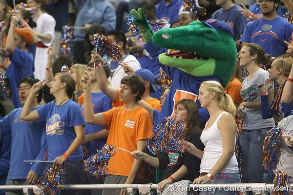 Albert cheers from the student section during the Gators' 95-46 exhibition game win against the St. Leo Lions on Monday, November 2, 2009 at the Stephen C. O'Connell Center in Gainesville, Fla. / Gator Country photo by Tim Casey