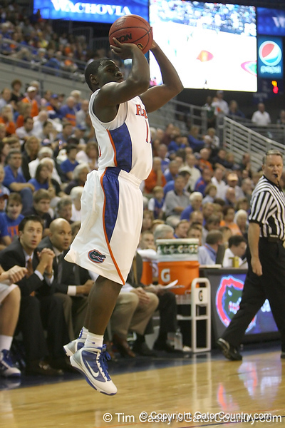 Florida sophomore guard Erving Walker shoots for three during the Gators' 95-46 exhibition game win against the St. Leo Lions on Monday, November 2, 2009 at the Stephen C. O'Connell Center in Gainesville, Fla. / Gator Country photo by Tim Casey