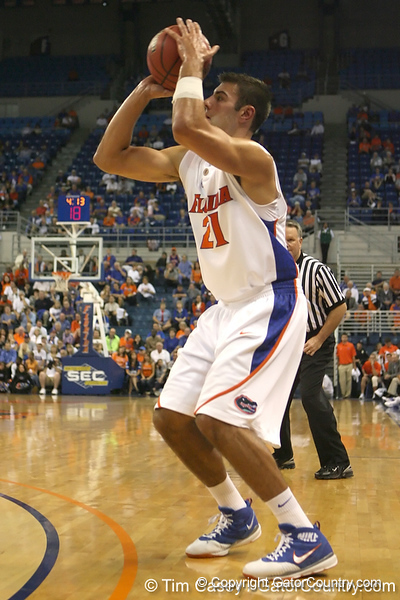 Florida senior forward Dan Werner shoots for three during the Gators' 95-46 exhibition game win against the St. Leo Lions on Monday, November 2, 2009 at the Stephen C. O'Connell Center in Gainesville, Fla. / Gator Country photo by Tim Casey