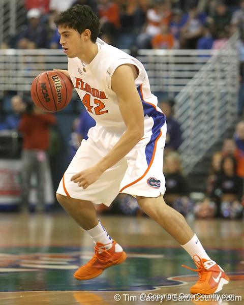 Florida freshman guard Rod Tishman dribbles during the Gators' 95-46 exhibition game win against the St. Leo Lions on Monday, November 2, 2009 at the Stephen C. O'Connell Center in Gainesville, Fla. / Gator Country photo by Tim Casey