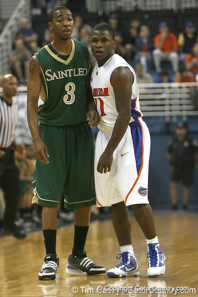 Florida sophomore guard Erving Walker gets in position during the Gators' 95-46 exhibition game win against the St. Leo Lions on Monday, November 2, 2009 at the Stephen C. O'Connell Center in Gainesville, Fla. / Gator Country photo by Tim Casey