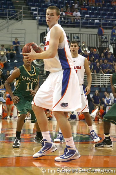 Florida freshman forward Erik Murphy leads a fast break during the Gators' 95-46 exhibition game win against the St. Leo Lions on Monday, November 2, 2009 at the Stephen C. O'Connell Center in Gainesville, Fla. / Gator Country photo by Tim Casey