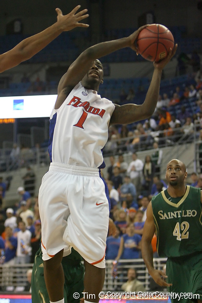 Florida freshman guard Kenny Boynton shoots a layup during the Gators' 95-46 exhibition game win against the St. Leo Lions on Monday, November 2, 2009 at the Stephen C. O'Connell Center in Gainesville, Fla. / Gator Country photo by Tim Casey