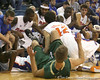 Florida freshman guard Rod Tishman dives for a loose ball during the Gators' 95-46 exhibition game win against the St. Leo Lions on Monday, November 2, 2009 at the Stephen C. O'Connell Center in Gainesville, Fla. / Gator Country photo by Tim Casey