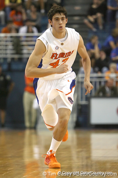 Florida freshman guard Rod Tishman runs upcourt during the Gators' 95-46 exhibition game win against the St. Leo Lions on Monday, November 2, 2009 at the Stephen C. O'Connell Center in Gainesville, Fla. / Gator Country photo by Tim Casey