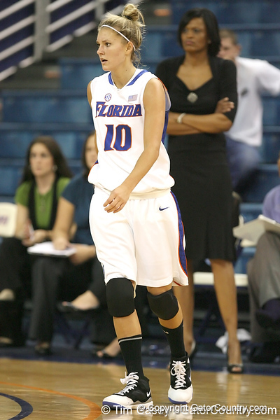 Florida senior guard Steffi Sorensen gets in position during the Gators' 75-39 win against the UAB Blazers on Tuesday, November 24, 2009 at the Stephen C. O'Connell Center in Gainesville, Fla. / photo by Tim Casey