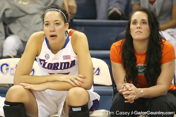 Florida sophomore center Azania Stewart watches from the bench during the Gators' 75-39 win against the UAB Blazers on Tuesday, November 24, 2009 at the Stephen C. O'Connell Center in Gainesville, Fla. / photo by Tim Casey
