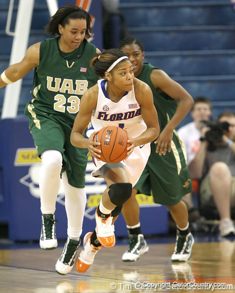 Florida freshman guard Christal Calwell looks to pass during the Gators' 75-39 win against the UAB Blazers on Tuesday, November 24, 2009 at the Stephen C. O'Connell Center in Gainesville, Fla. / photo by Tim Casey