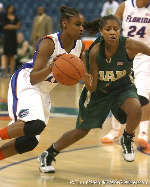 Florida freshman guard Tessah Holt breaks for the basket during the Gators' 75-39 win against the UAB Blazers on Tuesday, November 24, 2009 at the Stephen C. O'Connell Center in Gainesville, Fla. / photo by Tim Casey
