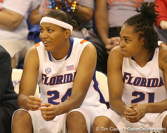 Florida senior forward Sharielle Smith and sophomore guard Trumae Lucas watch from the bench during the Gators' 75-39 win against the UAB Blazers on Tuesday, November 24, 2009 at the Stephen C. O'Connell Center in Gainesville, Fla. / photo by Tim Casey