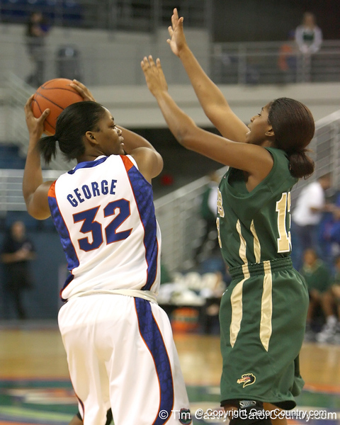 Florida freshman forward Jennifer George looks to pass during the Gators' 75-39 win against the UAB Blazers on Tuesday, November 24, 2009 at the Stephen C. O'Connell Center in Gainesville, Fla. / photo by Tim Casey