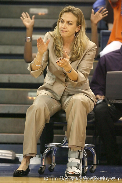 Florida head coach Amanda Butler cheers during the Gators' 75-39 win against the UAB Blazers on Tuesday, November 24, 2009 at the Stephen C. O'Connell Center in Gainesville, Fla. / photo by Tim Casey