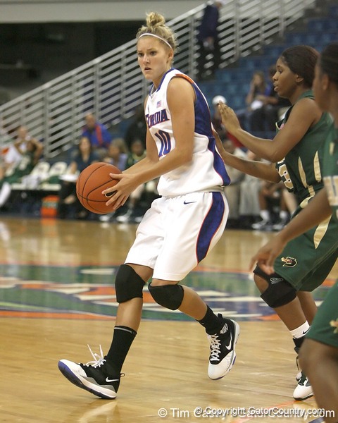Florida senior guard Steffi Sorensen passes the ball during the Gators' 75-39 win against the UAB Blazers on Tuesday, November 24, 2009 at the Stephen C. O'Connell Center in Gainesville, Fla. / photo by Tim Casey