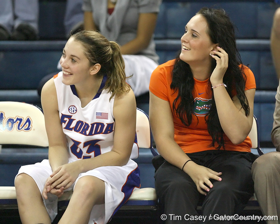 Florida redshirt-sophomore Jordan Jones and senior guard Jennifer Mossor watch from the bench during the Gators' 75-39 win against the UAB Blazers on Tuesday, November 24, 2009 at the Stephen C. O'Connell Center in Gainesville, Fla. / photo by Tim Casey