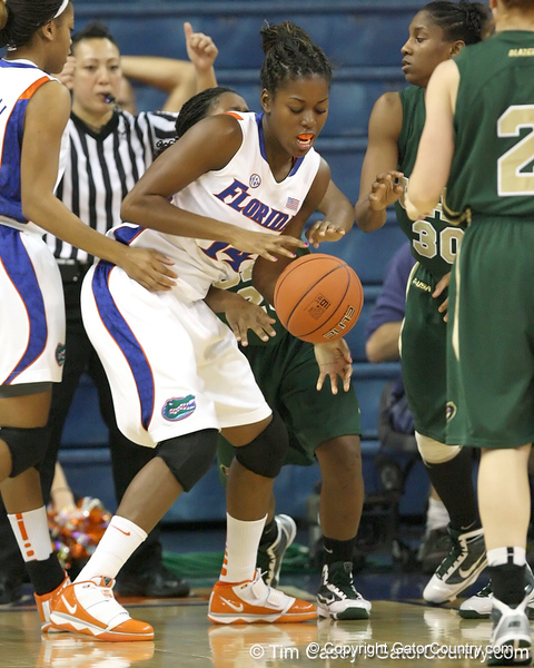 Florida redshirt-sophomore forward Ndidi Madu fights for a rebound during the Gators' 75-39 win against the UAB Blazers on Tuesday, November 24, 2009 at the Stephen C. O'Connell Center in Gainesville, Fla. / photo by Tim Casey