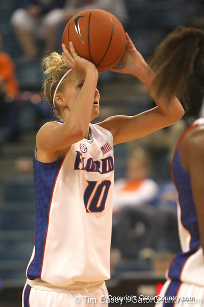 Florida senior guard Steffi Sorensen shoots for three during the Gators' 75-39 win against the UAB Blazers on Tuesday, November 24, 2009 at the Stephen C. O'Connell Center in Gainesville, Fla. / photo by Tim Casey