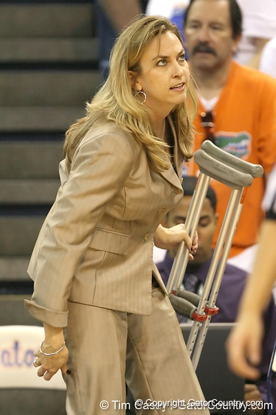 Florida head coach Amanda Butler heads to the locker room for halftime during the Gators' 75-39 win against the UAB Blazers on Tuesday, November 24, 2009 at the Stephen C. O'Connell Center in Gainesville, Fla. / photo by Tim Casey