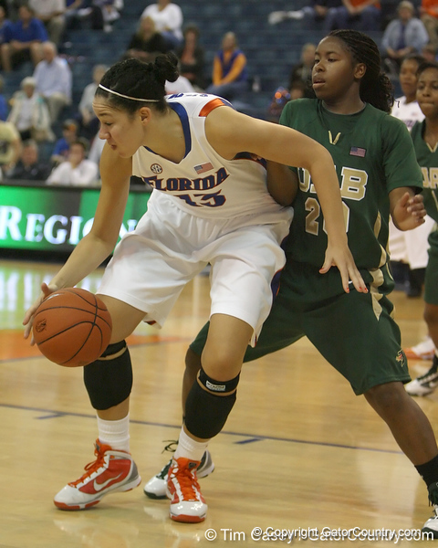Florida sophomore center Azania Stewart controls the ball during the Gators' 75-39 win against the UAB Blazers on Tuesday, November 24, 2009 at the Stephen C. O'Connell Center in Gainesville, Fla. / photo by Tim Casey