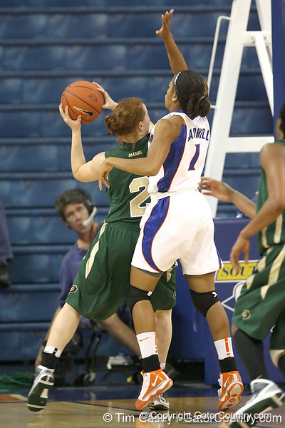 Florida freshman guard Christal Calwell defends the post during the Gators' 75-39 win against the UAB Blazers on Tuesday, November 24, 2009 at the Stephen C. O'Connell Center in Gainesville, Fla. / photo by Tim Casey