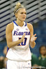 Florida senior guard Steffi Sorensen applauds during the Gators' 75-39 win against the UAB Blazers on Tuesday, November 24, 2009 at the Stephen C. O'Connell Center in Gainesville, Fla. / photo by Tim Casey