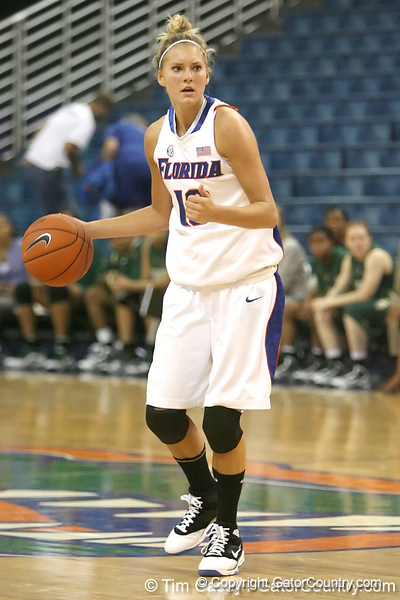 Florida senior guard Steffi Sorensen looks to pass during the Gators' 75-39 win against the UAB Blazers on Tuesday, November 24, 2009 at the Stephen C. O'Connell Center in Gainesville, Fla. / photo by Tim Casey