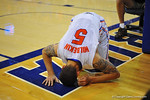 Florida guard Scottie Wilbekin lays on the ground in pain following a weird landing on his ankle late in the second half.  Florida Gators vs South Carolina Gamecocks.  Gainesville, FL.  January 8, 2013.  Gator Country photo by David Bowie.