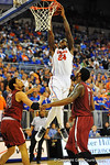 Florida forward Casey Prather slams in the basket in the first half.  Florida Gators vs South Carolina Gamecocks.  Gainesville, FL.  January 8, 2013.  Gator Country photo by David Bowie.