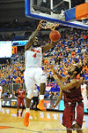 Florida center Patric Young slams in the basket in the second half.  Florida Gators vs South Carolina Gamecocks.  Gainesville, FL.  January 8, 2013.  Gator Country photo by David Bowie.