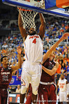 Florida center Patric Young jumps and dunks the ball in the second half.  Florida Gators vs South Carolina Gamecocks.  Gainesville, FL.  January 8, 2013.  Gator Country photo by David Bowie.