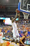 Florida center Patric Young lays in the shot in the second half.  Florida Gators vs South Carolina Gamecocks.  Gainesville, FL.  January 8, 2013.  Gator Country photo by David Bowie.